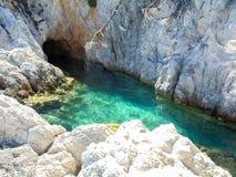 Cabo Amarantos en la isla de Skopelos Fotografía de archivo