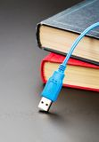 Cabo azul do usb em livros Fotografia de Stock Royalty Free