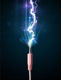 Cabo bonde com relâmpago de incandescência da eletricidade Imagem de Stock Royalty Free