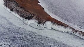 Cabo congelado en el lago Baikal La visi?n desde la tapa almacen de metraje de vídeo