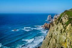 cabo da葡萄牙roca 在大西洋的峭壁,欧洲大陆的多数向西点 库存图片