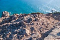 cabo da葡萄牙roca 在大西洋的峭壁,欧洲大陆的多数向西点 库存照片