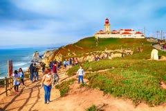 cabo da葡萄牙roca 灯塔和大西洋 库存照片