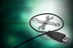Cabo da conexão com chave inglesa Fotografia de Stock