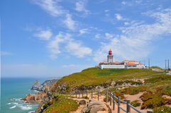 Cabo da Roca, Portugal.Lighthouse。 免版税库存照片