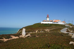 Cabo da Roca beacon. The rock is a cape which forms the westernmost extent of mainland Portugal and continental Europe Stock Photos