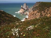 Cabo da Roca blisko Sintra, Portugalia, kontynentalny Europe's westernmost punkt Zdjęcie Stock