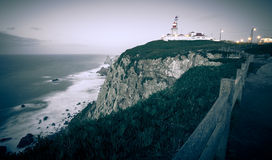 Cabo da Roca cape lighthouse in Portugal. Tinted Royalty Free Stock Photo