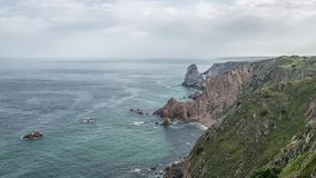 Cabo da Roca `Cape Roca` forms the westernmost mainland of continental Europe. Portugal stock video