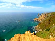 Cabo da Roca. Cape Rock is the westernmost cape of the Eurasian continent. The rock rises 140 meters above the level of the Atlantic Ocean. On the hill there is Stock Images