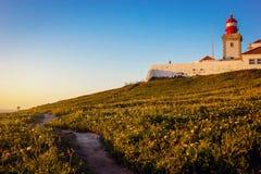 Cabo da Roca latarnia morska i Atlantyk ocean, Portugalia Fotografia Stock