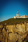 Cabo da Roca latarnia morska i Atlantyk ocean, Portugalia Zdjęcie Stock