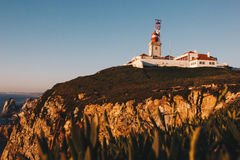 Cabo da Roca Lighthouse and Atlantic Ocean, Portugal Royalty Free Stock Photos