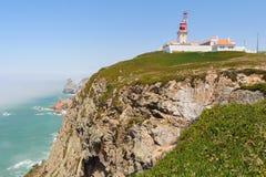 Cabo da Roca lighthouse and cliffs Stock Photography