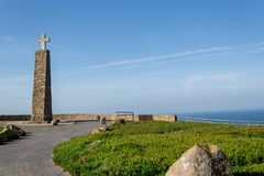 Cabo da Roca, Portugal. Cliffs over Atlantic Ocean, the most westerly point of the European mainland.  royalty free stock photos