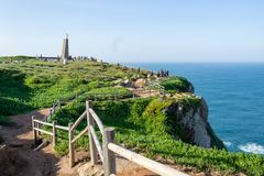Cabo da Roca, Portugal. Cliffs over Atlantic Ocean, the most westerly point of the European mainland.  stock photography