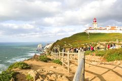 Cabo da Roca, Portugal. Landscape with lighthouse stock photos