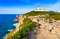 Cabo da Roca, Portugal. Portugal. Cabo da Roca and the lighthouse over Atlantic Ocean, the most westerly point of the European mainland Royalty Free Stock Photography