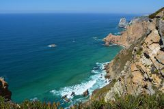 Cabo da Roca. Seascape. Cabo da Roca  is a cape which forms the westernmost point of both mainland Portugal and mainland Europe. The cape is in the Portuguese Royalty Free Stock Image