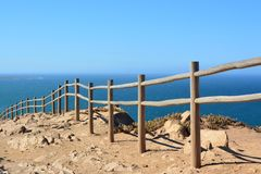 Cabo da Roca. Seascape. Cabo da Roca  is a cape which forms the westernmost point of both mainland Portugal and mainland Europe. The cape is in the Portuguese Stock Photography