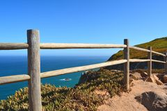 Cabo da Roca. Seascape. Cabo da Roca  is a cape which forms the westernmost point of both mainland Portugal and mainland Europe. The cape is in the Portuguese Stock Images