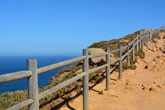 Cabo da Roca. Seascape. Cabo da Roca  is a cape which forms the westernmost point of both mainland Portugal and mainland Europe. The cape is in the Portuguese Royalty Free Stock Images