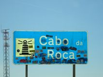 Cabo da Roca Signage, Sintra - Portugal Royaltyfri Foto