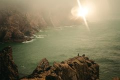 Cabo da Roca sunset royalty free stock images
