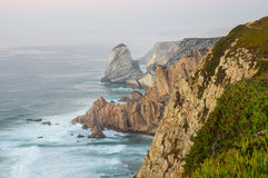 Cabo da Roca. View on Cabo da Roca Cape Roca, a cape which forms the westernmost extent of mainland Portugal and continental Europe Royalty Free Stock Photo