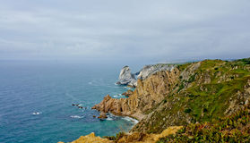 Cabo da roca. View with ocean the most western point of continental europe Royalty Free Stock Photos