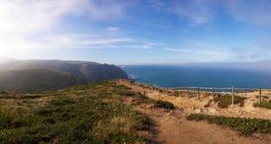 Cabo da Roca viewpoint fence royalty free stock photos