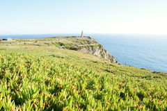 Cabo da Roca - the westernmost extent of mainland Portugal and continental Europe. Memorial on Cabo da Roca - the westernmost extent of mainland Portugal and Royalty Free Stock Photo