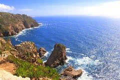 Cabo da Roca, wybrzeże Portugalia najwięcej zachodniego punktu Europ obraz royalty free