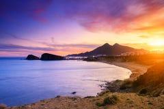 Cabo de加塔角自然公园的La Isleta del莫罗海岸  免版税库存图片