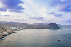 Cabo de加塔角,阿尔梅里雅,西班牙自然公园在蓝色小时 免版税库存图片