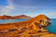 Cabo de加塔角Nijar自然公园海岸,在西班牙 免版税库存图片