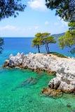 Cabo de Amarantos de la isla de Skopelos Imagen de archivo