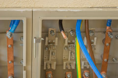 Cabo de cobre da energia elétrica pronto para o conector Imagens de Stock Royalty Free