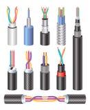 Cabo de fibra ótica e cobre industriais bondes realísticos ajustados W ilustração royalty free