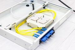 Cabo de fibra ótica para o sistema de rede Fotografia de Stock