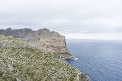 Cabo de Formentor in the Balearic Islands, Spain, high cliffs ne Royalty Free Stock Image