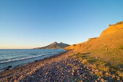 Cabo de Gata coast at sunset Royalty Free Stock Image