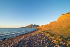 Cabo de Gata coast at sunset royalty free stock image
