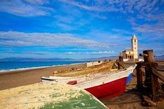 Cabo de Gata in San Miguel Beach Salinas church Royalty Free Stock Image
