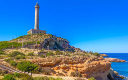 Cabo de Palos Lighthouse on La Manga Royalty Free Stock Image