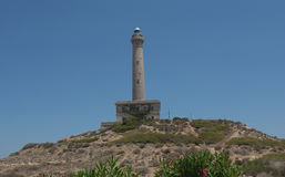 Cabo de Palos Lighthouse på La Manga, Murcia, Spanien Royaltyfri Foto
