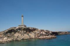 Cabo de Palos Lighthouse på La Manga, Murcia, Spanien Arkivbilder