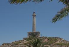 Cabo de Palos Lighthouse på La Manga, Murcia, Spanien Royaltyfri Bild