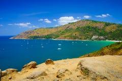 Cabo de Phromthep no por do sol Phuket, Tailândia Imagens de Stock