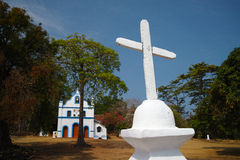 Cabo De Rama Fort, kyrka av Santo Antonio Arkivbild